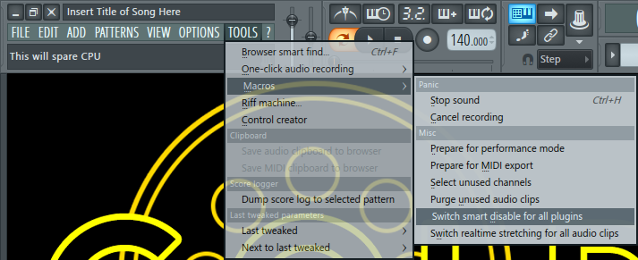 Smart Disable For All Plugins In FL Studio DAW IMG 1 (Macros Menu).png